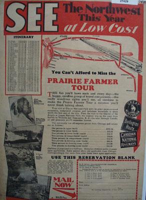 Prairie Farmer Tour To Northwest Ad 1930