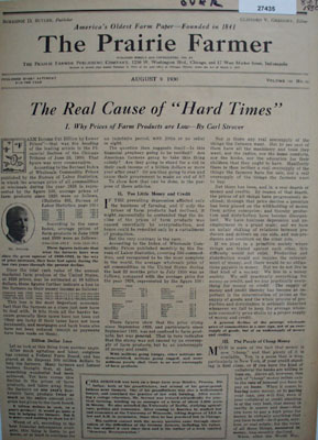 Prairie Farmer Cause Of Hard Times Article 1930