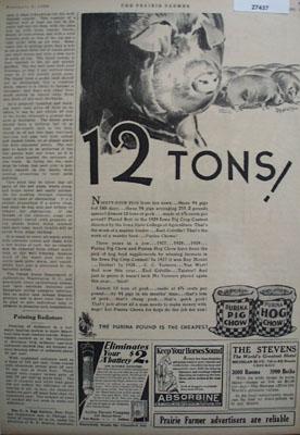 Purina Pig Chow 12 Tons Ad 1930