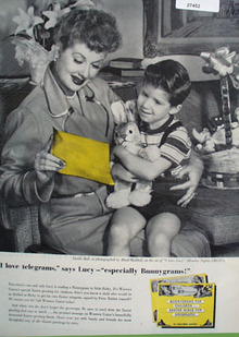 Lucille Ball With Ricky and Western Union Ad 1957