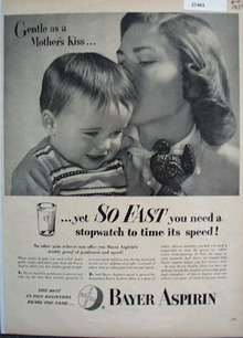 Bayer Aspirin Gentle As Mothers Kiss Ad 1954