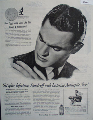 Listerine Antiseptic Gets After Dandruff Ad 1945