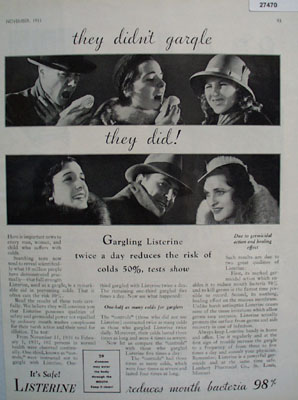 Listerine Antiseptic They Did not Gargle Ad 1931