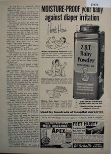 ZBT Baby Powder Moisture Proof Ad 1958
