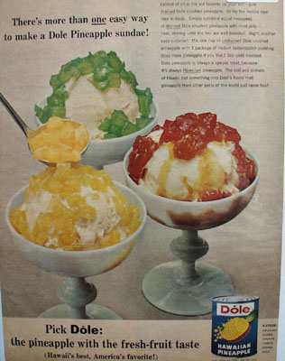 Dole Pineapple Sundaes Ad 1965