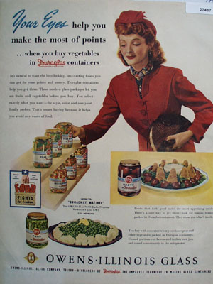 Duraglas Woman Buying Vegetables Ad 1944