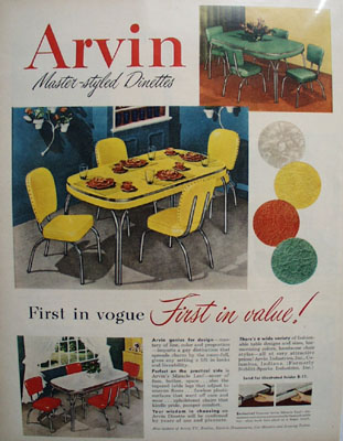 Arvin Dinettes First In Vogue Ad 1951