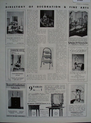 Directory of Decoration And Fine Arts Article.1931