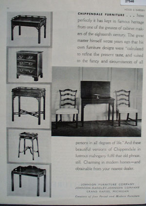 Johnson Furniture Chippendale Ad 1931