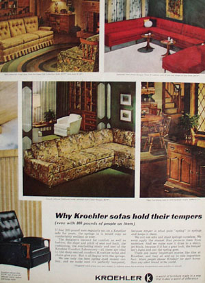 Kroehler Sofas Hold Their Tempers Ad 1965