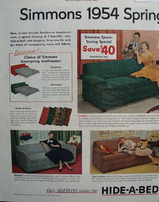 Simmons Hide A Bed Spring Show Ad 1954