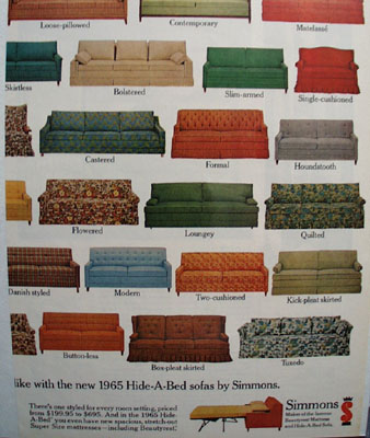Simmons 42 Hide A Bed Sofas Ad 1965