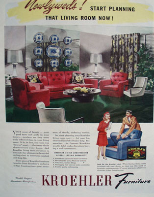 Kroehler Furniture Newlyweds Ad 1944