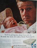 Sealy Posturepedic Man Holding Baby Ad 1966