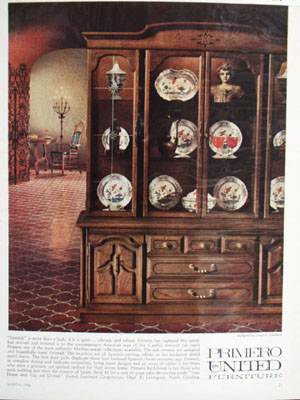 Primero United Furniture Spanish China Cabinet Ad 1966