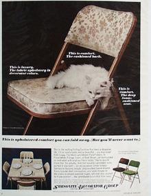 Samsonsite Chair With White Kitten Ad 1966