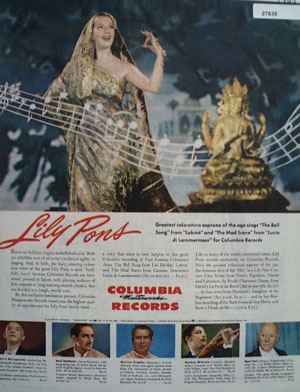 Columbia Records Lily Pons Ad 1945