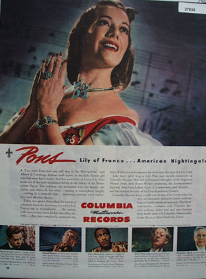 Columbia Records Pons Lily of France Ad 1944