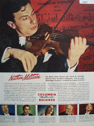 Columbia Records and Nathan Milstein Ad 1945