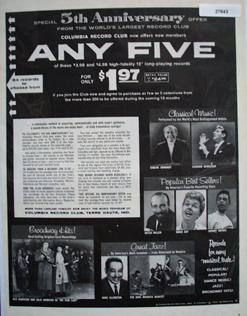 Columbia Record Club 5th Anniversary Ad 1960