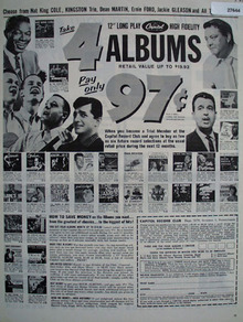 Capitol Records 4 Albums for 97 cents Ad 1960