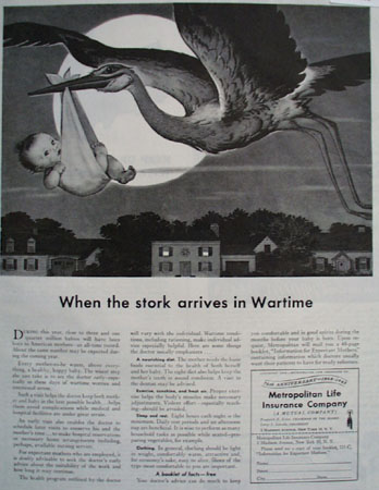 Metropolitan Life Stork Arrives In Wartime Ad 1943