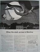 Metropolitan Life Stork Arrives In Wartime Ad 1943