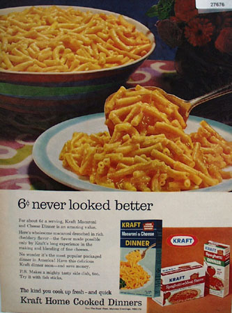 Kraft Macaroni And Cheese 6 cents Better Ad 1967