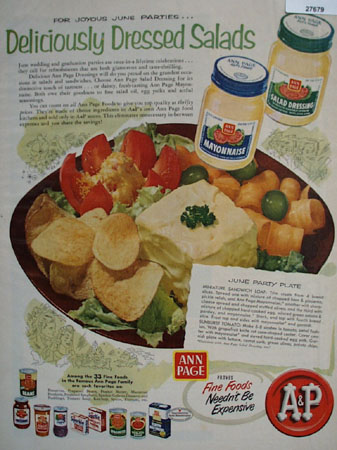 A And P Deliciously Dressed Salads Ad 1954