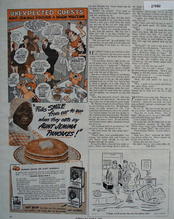 Aunt Jemima Pancakes Unexpected Guests Ad 1944
