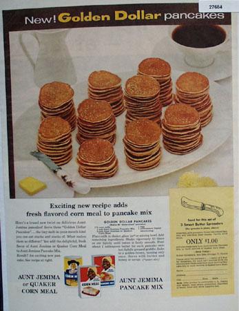 Aunt Jemima Golden Dollar Pancakes Ad 1957