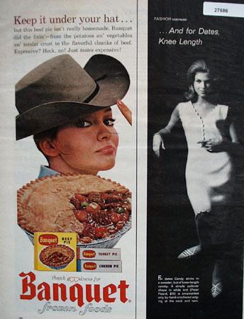 Banquet Frozen Beef Pie Keep Under Your Hat Ad 1964
