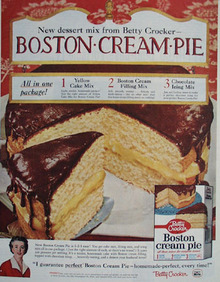 Betty Crocker Boston Cream Pie Ad 1959