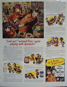 Bordens Elsie Says Playing With Dynamite Ad 1945