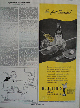Heubleins Cocktails For Fast Service Ad 1945