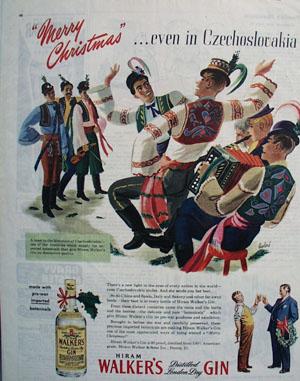 Hiram Walkers Gin Christmas Ad 1945