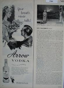 Arrow Vodka Light As a Bubble Ad 1960