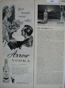 Arrow Vodka Light As a Bubble Ad 1960