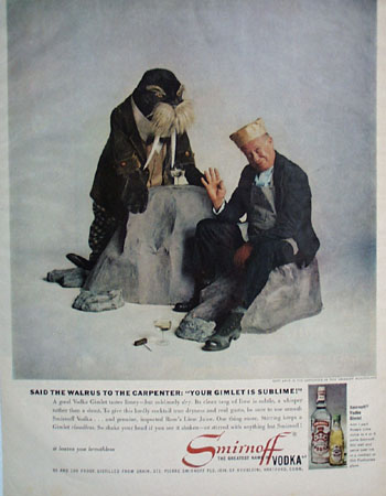 Smirnoff Vodka and Bert Lahr Ad 1960