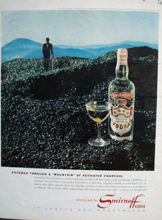 Smirnoff Vodka Mountain of Charcoal Ad 1964