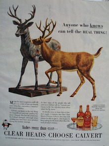 Calvert Whiskey And Deer Looking At Statue Ad 1944