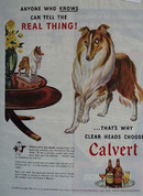 Calvert Whiskey And Dog Looking At Statue Ad 1954