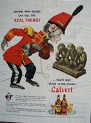 Calvert Whiskey And Monkey Looking At Monkey Ad 1945