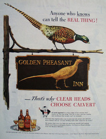 Calvert Whiskey Golden Pheasant Inn Ad 1945