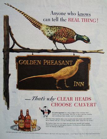 Calvert Whiskey Golden Pheasant Inn Ad 1945
