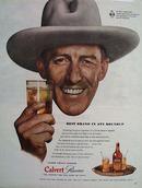 Calvert Reserve Man Wearing Western Hat Ad 1943