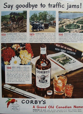 Corbys Whiskey Say Goodbye to Traffic Jams Ad 1946