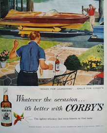 Corbys Whiskey Ready For Launching Ad 1957