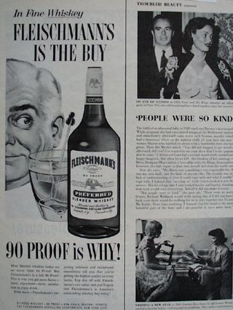Fleischmanns Elderly Man Bottle And Glass Ad 1958