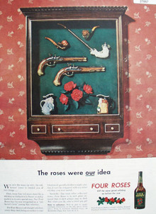 Four Roses Whiskey And Shadow Box Ad  1946